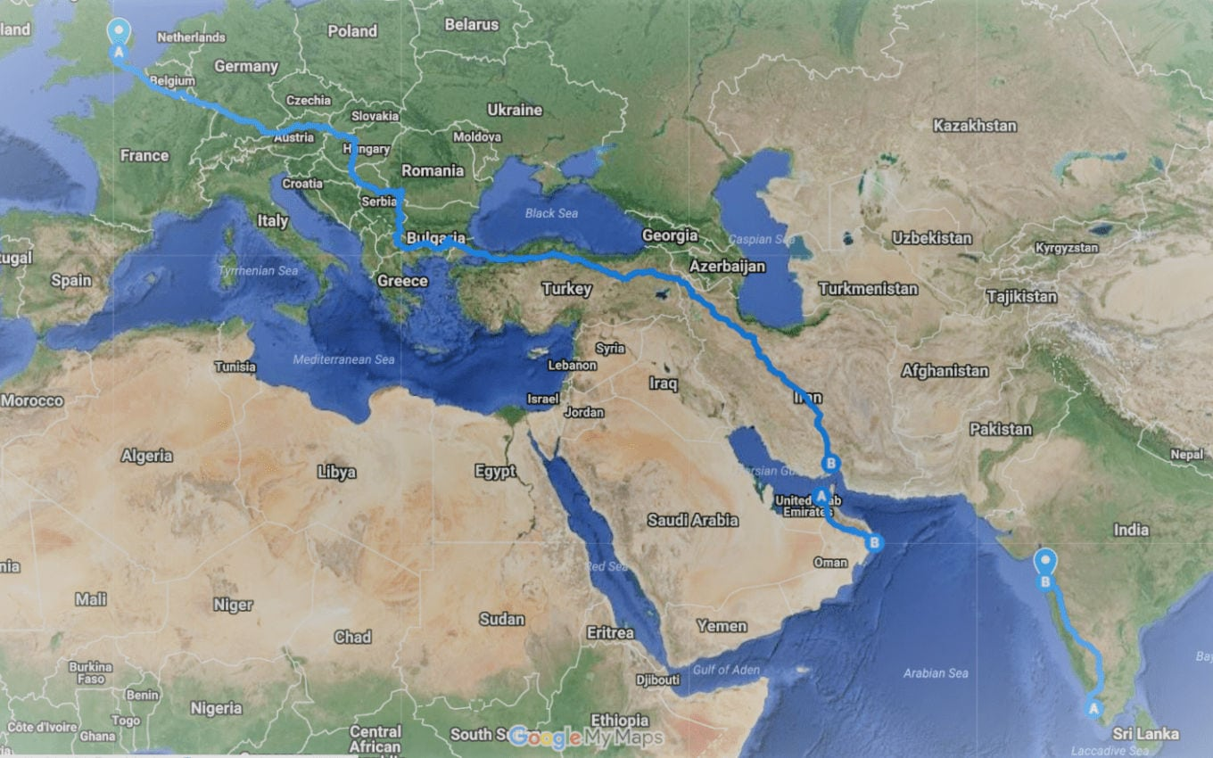Joe & Verity's route from London to India